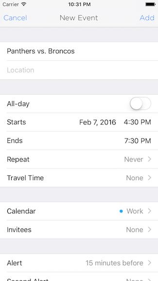Screenshot of the calendar item being edited